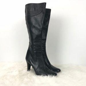 Banana Republic Black Leather Zip-up Heeled Boots